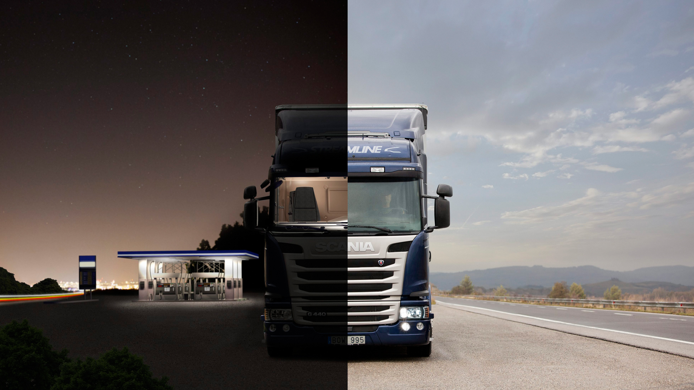 A Scania truck split down the middle showing night at a station and day beside a road