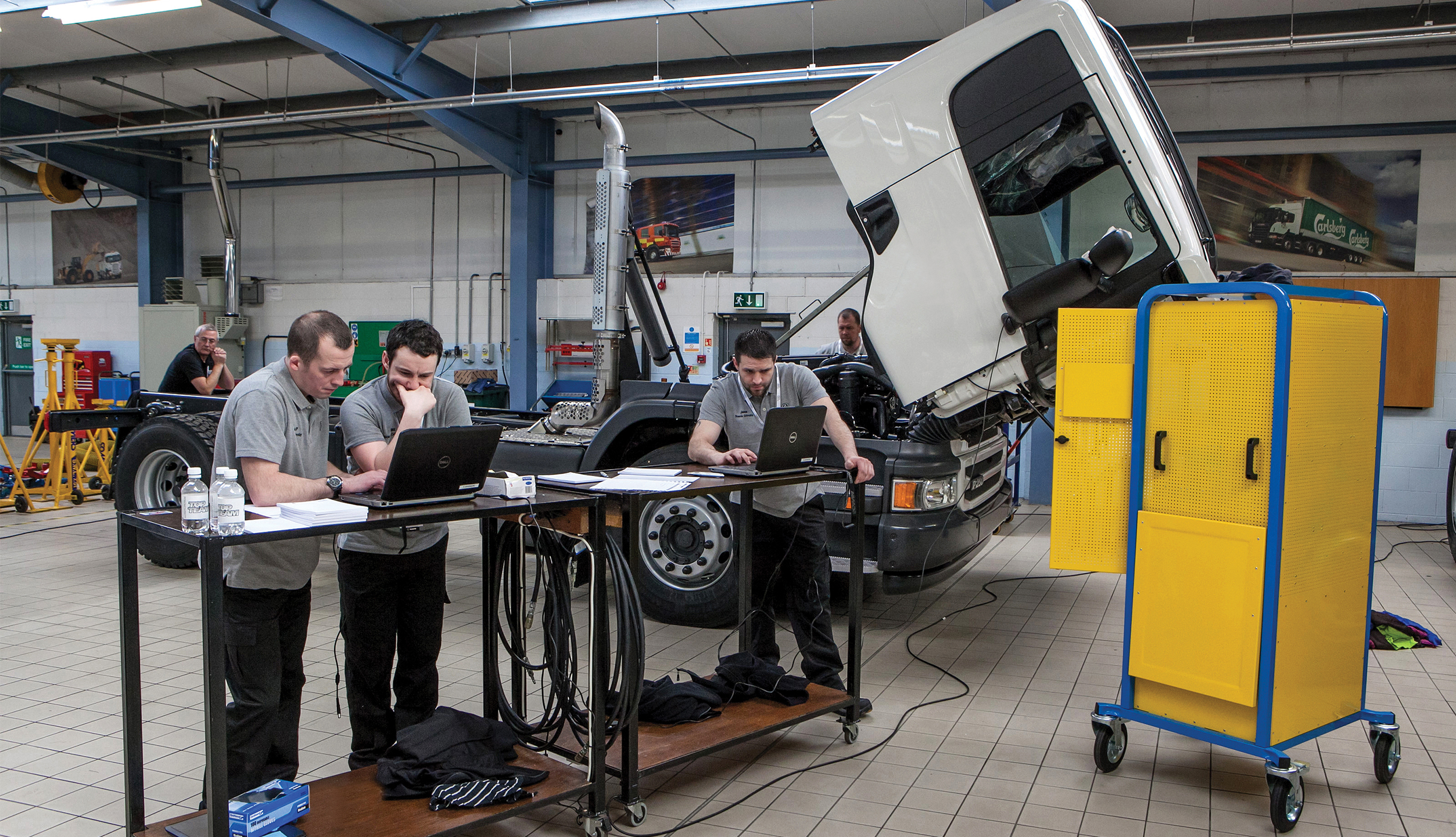 Technical Training in a Scania workshop
