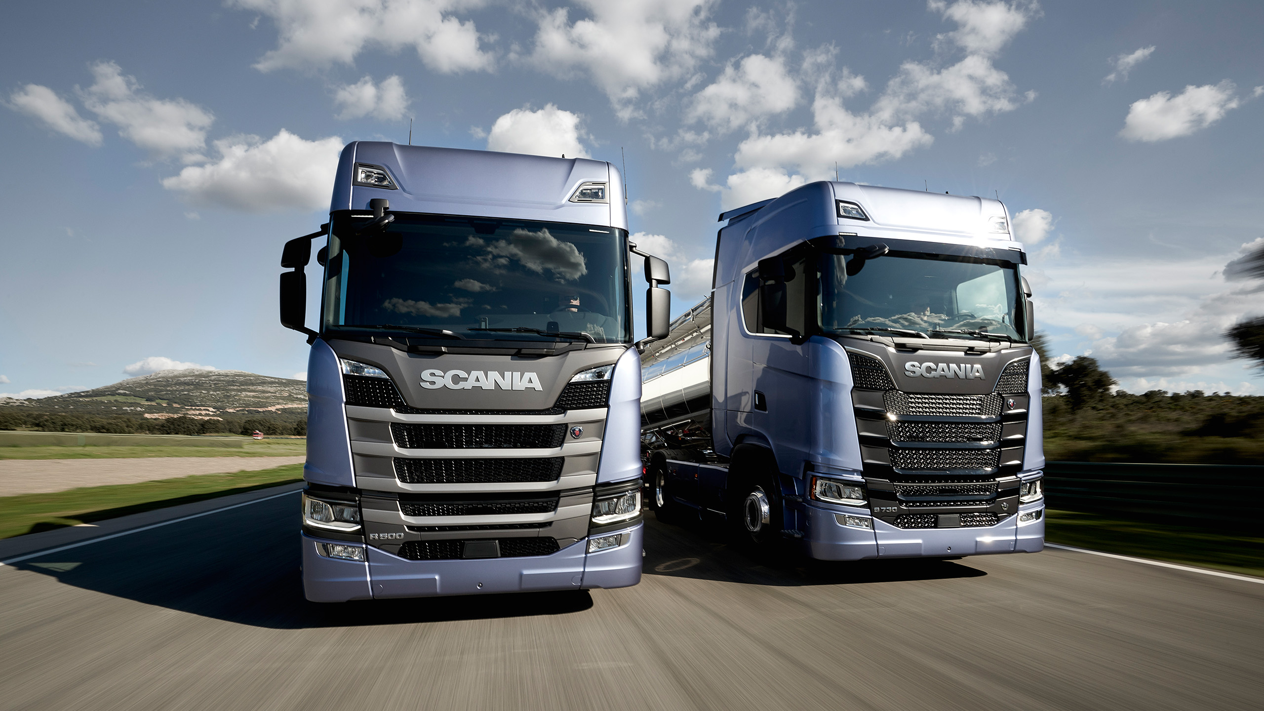 A pair of next generation Scania trucks