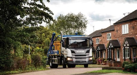Scania Skip loader driving to site
