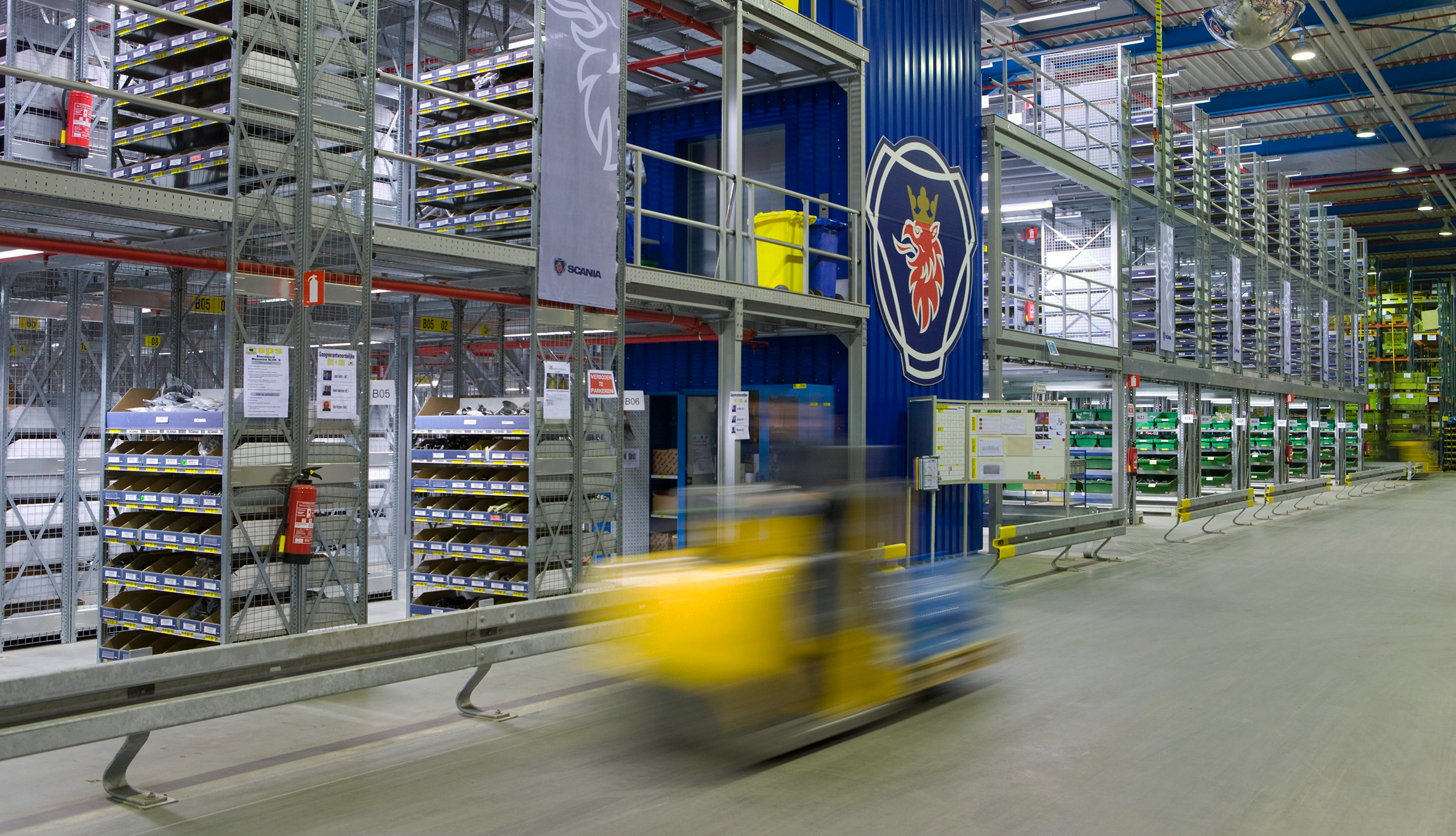 A Scania parts warehouse containing truck parts, bus parts and engine parts