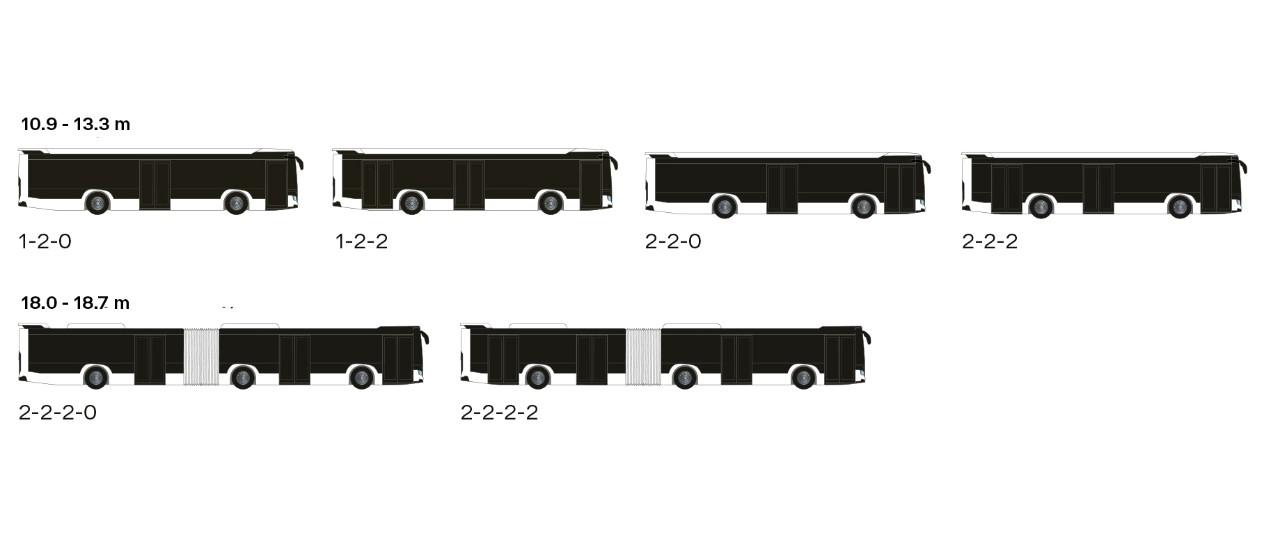 Axles, doors and lengths configurations